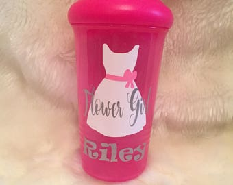 Flower Girl Sippy Cup with name--Completely Customizable