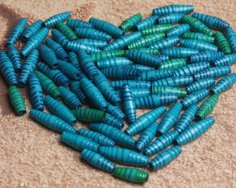 Blue paper beads