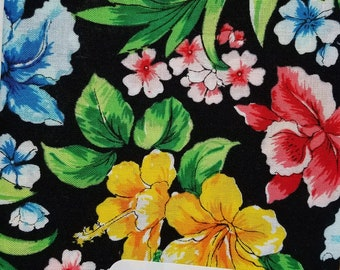 """Fabric Quarters Cotton Fabric 18""""- Floral on Black"""