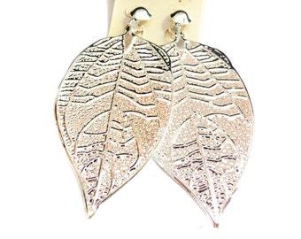 Clip-on Earrings Dangle Silver tone Earrings 4.5 inch long lightweight Clip Earrings 2.25 inch Wide