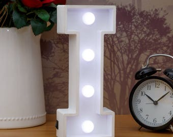 Light Up Letters I | Marquee Letters LED Bedside Lamp | White Wooden Letter Lights Bedroom Decor Wall Hanging Freestanding | Name Baby Gift