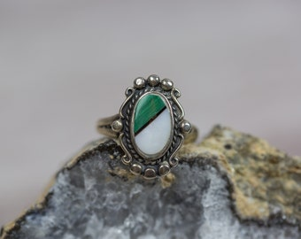 Vintage Native American Turquoise & Abalone Sterling Silver Ring