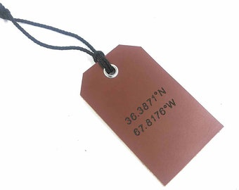 Personalized Leather Luggage Tag, Custom Leather Tag,Email / Address / Phone Number / Coordinates / Initials Red Brown