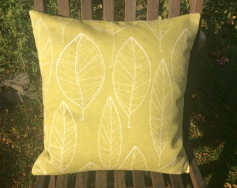 Green Cushion Cover, Pillow Cover 18x18 inch or 45cm by 45cm Aspen leaf fabric
