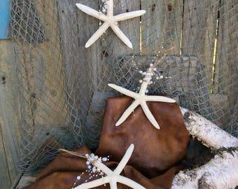 set of 3 beach decor, coastal wedding decor, starfish wedding, nautical wedding, nautical gifts, coastal gifts, wreath bow, coastal decor