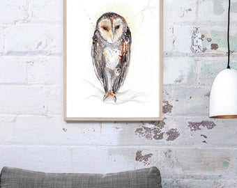 Australian masked owl Art Print A3, A2, A1 & A0 Bird Watercolor Illustration giclee Art Print