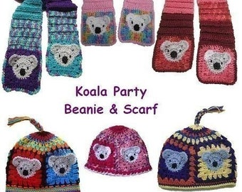 Koala Party Beanie and Scarf (crochet pattern)