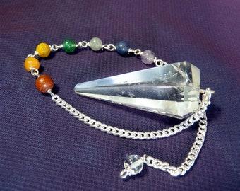 Clear Quartz 7 Chakras Pendulum - Dowsing and Divination - Red Jasper, Carnelian, Yellow Jasper, Aventurine, Labradorite, Amethyst Beads