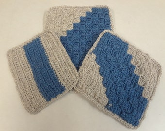 3 Piece Hot Pad Trivet Set New Denim and Oatmeal/Tan colors DOUBLE Thickness Crocheted Handmade Great Kitchen Gift Idea Great Gift for MOM