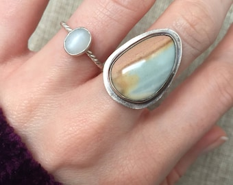 Set of TWO Handmade sterling silver pink/baby blue jasper and moonstone ring