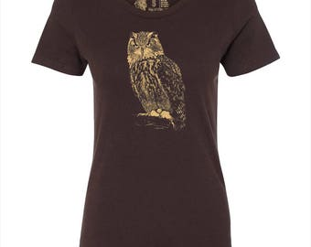 Women's Owl T Shirt, 10% Donated to Animal Causes, Wildlife Tee, Animal Gift, Spirit Animal T-Shirt