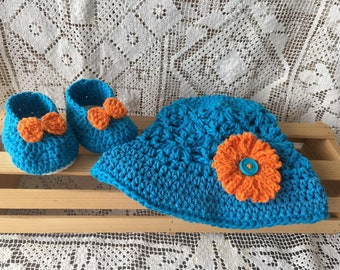 Baby hat and Booties, Blue Sun hat, Summer Floppy Hat, Sunhat with Flower, Blue Floppy Hat, Summer hat for Kids, Ready to Ship