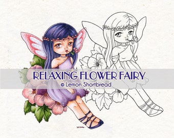 Digital Stamp Relaxing Flower Fairy, Digi Download, Fantasy, Spring Summer, Clip Art, Floral Coloring Page, Scrapbooking Supplies