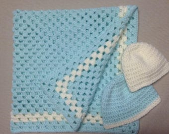 Crochet Baby Blanket With Hats Set of Two 0-3, 3-6 Months