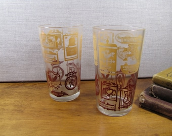 Two (2) Small Vintage Drinking Glasses - Red and Yellow Inn Signs