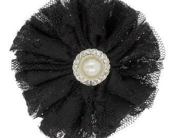 Lace/Tulle Ballerina Hair Flower - Black (2 Flowers)