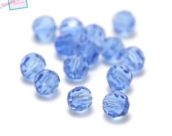"""Crystal beads 20/60""""round faceted""""6 mm, blue water"""