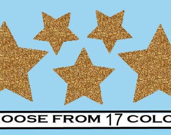 Stars- vinyl Iron On Decal transfers- Choose your Color- Glitter or Matte
