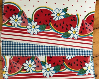 Epitome of summer--Reversible oilcloth placemats with watermelons