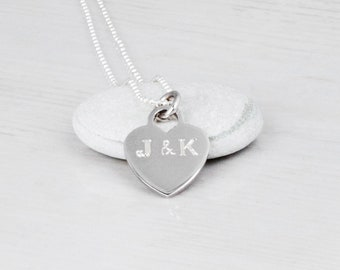 Engraved Heart Necklace, Engraved Necklace For Women, Sterling Silver Heart Necklace, Initial Necklace, Love Necklace, Personalized Necklace