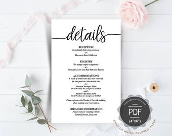 Wedding Details Card PDFtemplate, instant download printable, editable insert card, enclosure card in rustic calligraphy theme (TED410_1)