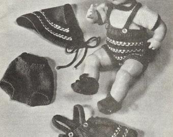 Hansel and Gretal Vintage Knitting Pattern  - 13 - 18in. Doll Dirndl, Lederhosen, Sweater, Kerchief, Panties, Cap and Shoes