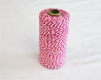 Spool of Hot Pink and White Bakers Twine - 240 yards