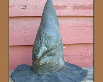 Primitive Halloween Witch hat instant download pdf pattern soft sculpture face HAFAIR HAGUILD OFG