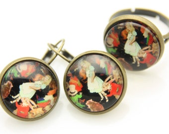 Rabbit earrings, Rabbit ring, Rabbit jewelry SET, alice in wonderland earrings, alice in wonderland ring, alice jewelry set, 1616