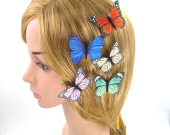 6 Pcs Blue Butterfly Hair Clip,White Butterfly Hair Pin,Silk Fabric Butterfly Brooch,Girls Women,Wedding Bridal Bridesmaids Hair Accessories