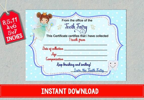 Tooth Fairy Zertifikat erste verlorene Zähne Bericht druckbare