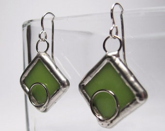 Limelights -  Sterling Silver Stained Glass Earrings
