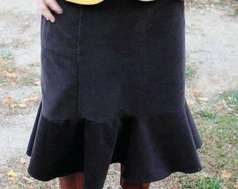 Brown Corduroy - With POCKETS - Woman's Skirt - Optional Lace Trim - Straight Skirt - Casual - Dressy - Custom Sewn - Fall Fashion - Autumn