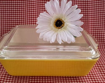 Pyrex 603-B Yellow Baking Dish with 503-C Clear Cover