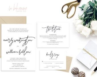 Printable Wedding Invitation Suite / Calligraphy / Wedding Invite Set - The Everly Suite