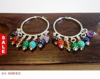 Sale -  7 Chakra Hoop Earring, 7 Chakra Balance Earring, 7 Chakra Earring Silver Plated 7 Chakra Earrings Healing 7 Chakra Earring 7 Chakra