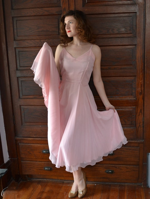 Full Bloom Dress | Pastel Pink 70's Chiffon Evening Gown | Peony Fit and Flare Dress