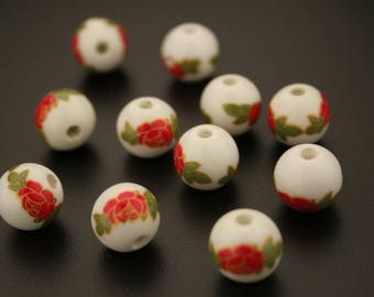 10 round porcelain printed beads. (ref:3111).