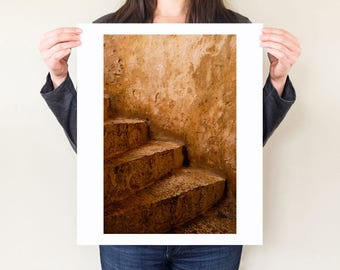 Rustic decor, fine art photography print. Ochre travel photograph, patina art. Venetian staircase steps photograph, oversized rustic artwork