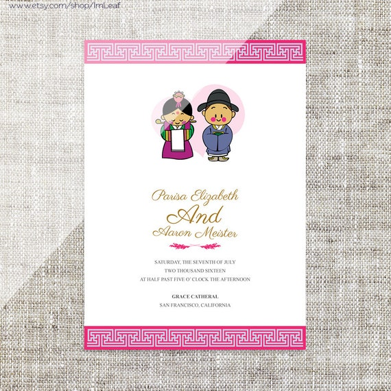 Diy printable editable korean wedding invitation card diy printable editable korean wedding invitation card template instant downloadrsvp cute bride and groom characterdouble happiness stopboris