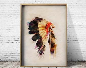 Wall Art Print Poster Giclee Print Posters Native American Print Head Dress