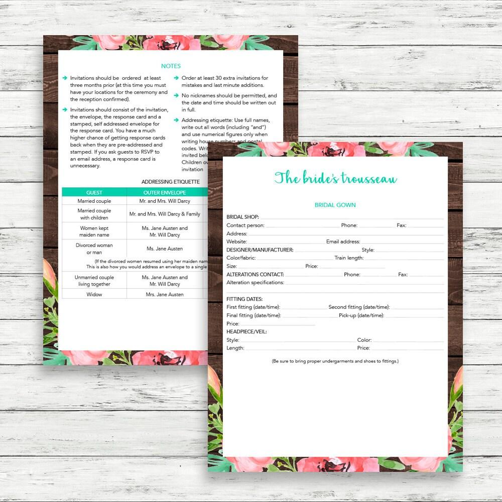 Printable Wedding Planner Binder Planning A Rustic: Rustic Wedding Binder, Printable Wedding Planner, Floral