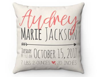 Personalized baby pillow etsy personalized pink baby stat pillow custom name pillow birth announcement pillow custom baby shower gift personalized new baby gift negle Choice Image
