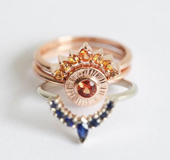 Charmant Sunset Ring Set, Unique Wedding Ring Set, Sapphire Ring Set, Sapphire Wedding  Ring Set, Orange Sapphire Ring, Blue Sapphire Wedding Set