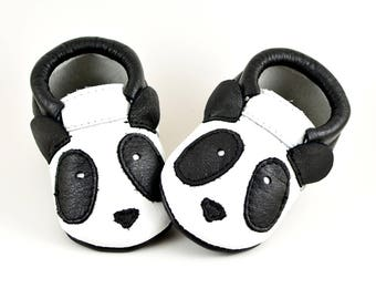 ON SALE! Panda Moccs Baby Moccasins Baby Moccs Handmade Moccasins Genuine Leather Moccs Newborn Moccs Baby Shower Gift Black White