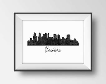 Philadelphia Skyline Print, Philly Art, Pennsylvania Cityscape Printable, City Scape Poster, Philadelphia Silhouette, Philadelphia Gift