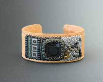Bead embroidery bracelet on leather. Rainbow jasper, glass. Beadwork.