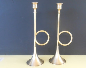 Pair of Tall Vintage Brass Candlesticks, Brass Candle Sticks,Brass candle holder,  brass trumpet candlestick Candle Holders,