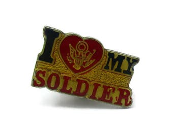 I Love My Soldier Lapel Pin Brooch Tie Tack  Small Lapel Shawl Sweater Scarf Vintage Jewelry Costume Jewelry Designer