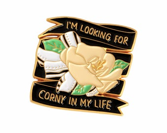 The Holiday looking for corny in my life enamel lapel pin